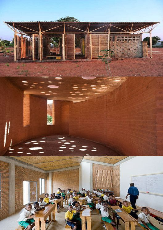 Three Projects That Transform Low-Tech Materials Into Innovative Design, Top: Educational Building In Mozambique / Bergen School of Architecture Students. Middle: School Library Gando  / Kere Architecture. Bottom: Umubano Primary School / MASS Design Group