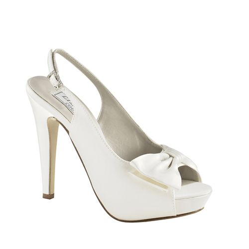 White Peeptoe Pump with slingback and Bow
