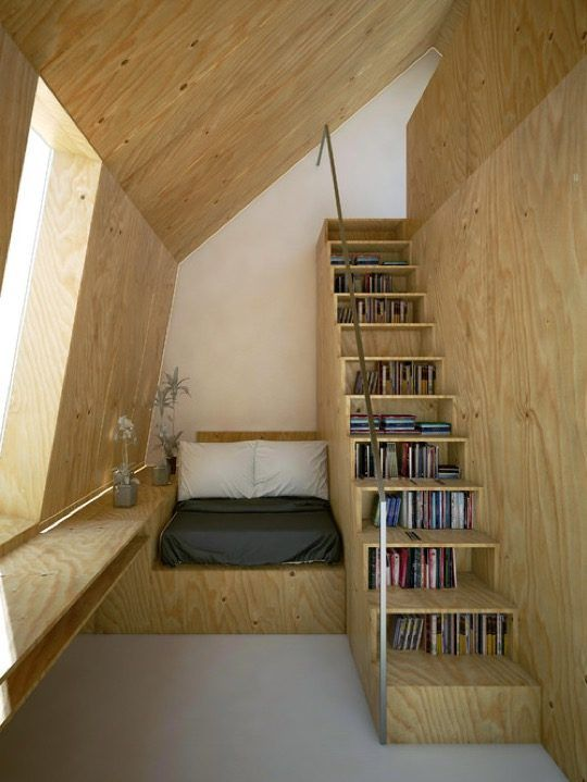 Fantastic: bookcase stairs and a reading nook, Scandinavian style