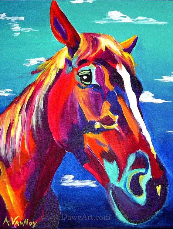 Horse, DawgArt, Horse Art, Southwestern Art, Pet Portrait, Colorful Pet Portrait, Equestrian Art, Art Prints, Horse Painting
