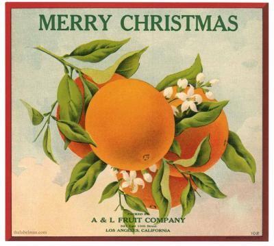 Los Angeles, California; MERRY CHRISTMAS Vintage Orange Crate Label