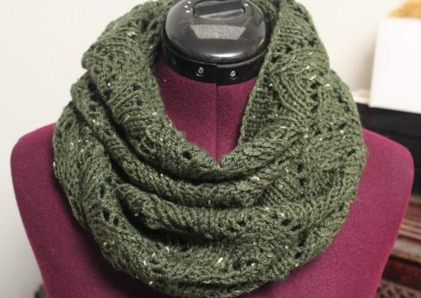 Lacy Arches Infinity Scarf -- pretty lace cowl pattern - free on craftsy
