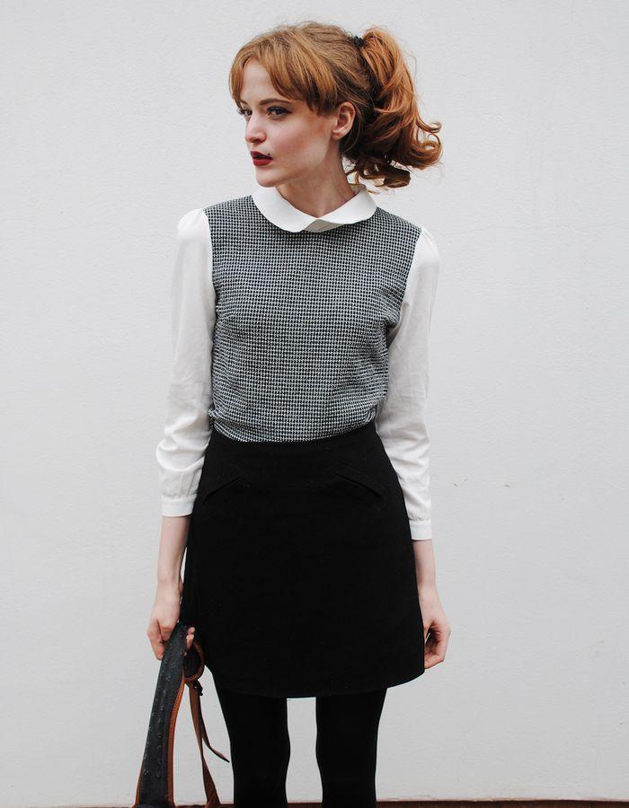 black tights  white collared shirt  grey winter sweater  a line skirt  winter work wear