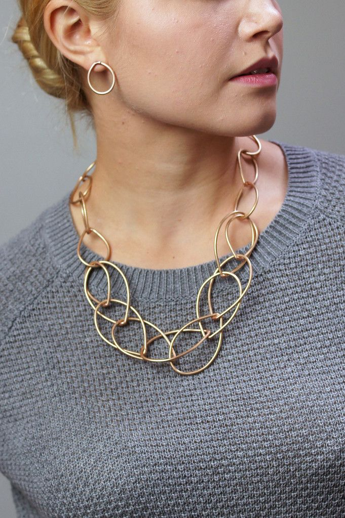 Eleanor necklace // bronze chunky chain necklace paired with grey sweater