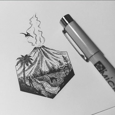 pen drawings simple ink drawing tattoo artwork designs tattoos journal dinosaur kim aesthetic dot visit geometric becker instagram