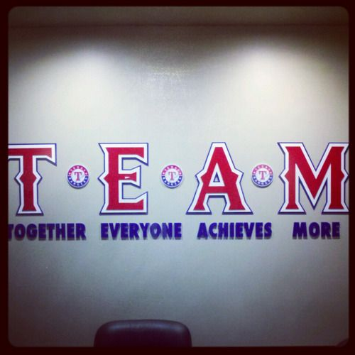 Before the Rangers walk out of the clubhouse, they are reminded that they are…