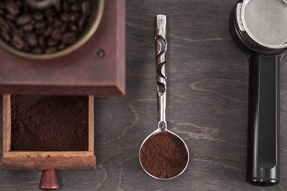 Hand forged ground coffee spoon