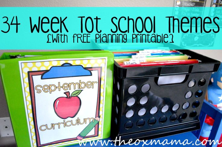 34 Themes for your Preschool or Tot School 2015-2016 School Year: Theme list with a free weekly Homeschool Planning Printable | theoxmama.com