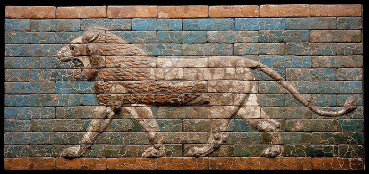 Open-mouthed lion, teeth bared, striding left. One of 120 life size lions that lined the Processional Way from the Ishtar Gate to the Temple of Marduk at Babylon. But you only have to go to Boston to see this one:  Ancient Near Eastern Art | Museum of Fine Arts, Boston