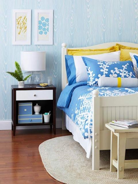 Mavi yatak odası-yaz renkleri