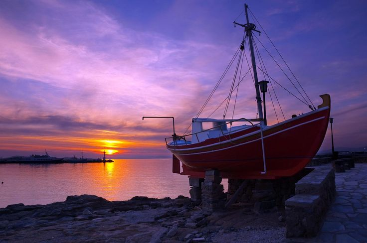 The famous red boat of #Mykonos at #sunset