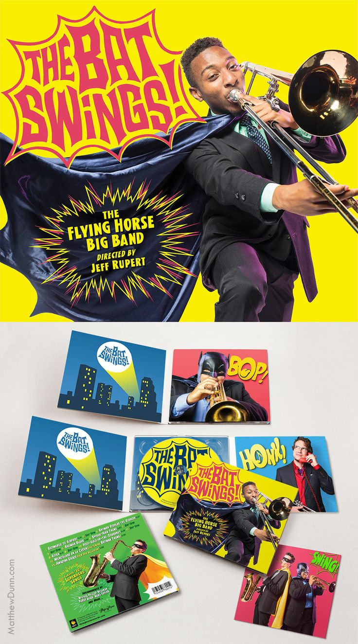 "My package design for ""The Bat Swings!"" (2018), an album from The Flying Horse Big Band featuring new jazz arrangements of music from the 1966 Batman series, classic Spider-Man, and more. Photos by Austin Warren and Jenn Allen."