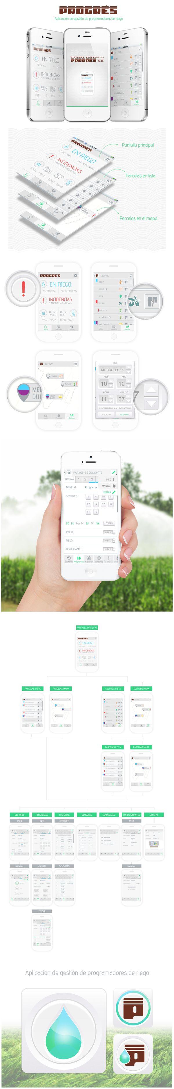 Progrés iOS App by #JuditSolsona, via Behance ios design apple irrigation app ui/ux mobile iphone