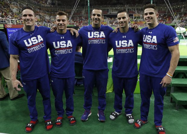 U.S. gymnasts, from right, Chris Brooks, Jake Dalton, Danell Leyva, Sam Mikulak and Alexander Naddour will compete in the team finals Monday
