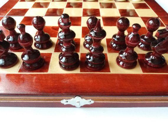 Nuovo pezzo di legno nocciola bella rossa di scacchi, scatola di scacchi legno di faggio di 32 x 32, scacchiera in legno, gioco educativo, backgammon, dama, regalo