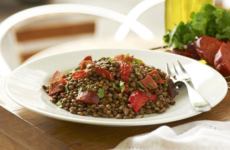 lentil and chorizo salad