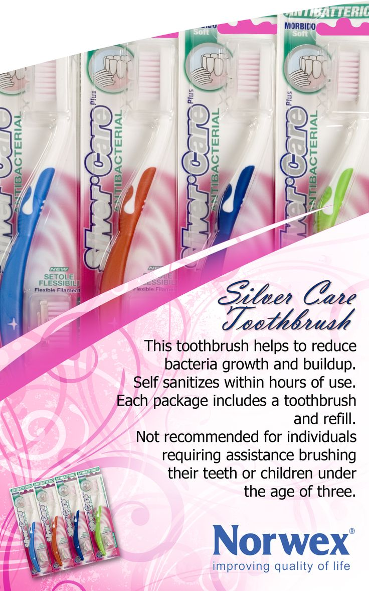 Norwex #Silver Care Soft Toothbrush (www.norwex.com) The Norwex Toothbrush helps to reduce bacteria growth and buildup. Self sanitizes within hours of use. Each package includes a toothbrush and refill. Not recommended for individuals requiring assistance brushing their teeth or children under the age of three. Available in Soft and Medium in 4 colors.