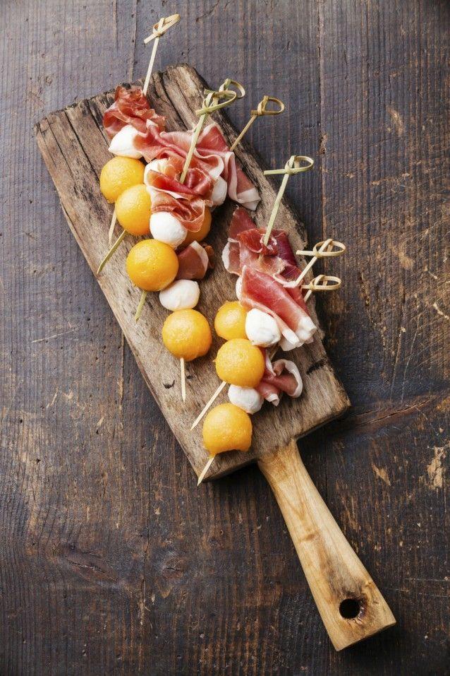 Meloen met rauwe ham en gemarineerde mozzarella