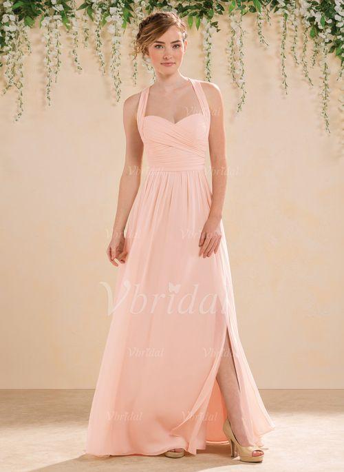 Robes de demoiselle d'honneur - $139.78 - Forme Princesse Bustier en coeur Longueur ras du sol Mousseline de soie Robe de demoiselle d'honneur avec Plissé Fendue devant (0075094191)