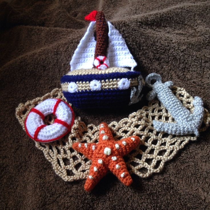 Crochet Nautical toy and rattle set