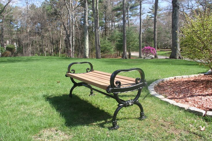 New England Park Bench - Benches Great for retail and restaurants. Commercial manufacturing with South American Hardwoods slats and cast iron ends. Can be personalized.