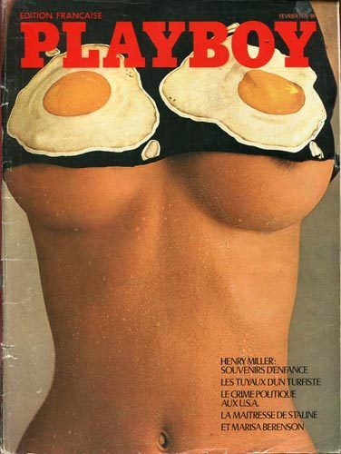 Naughty sunny side up eggs on the cover of Playboy, February 1976 (France) - Carefully selected by Gorgonia - www.gorgonia.it