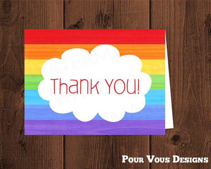 rainbow thank you card - flat or folded