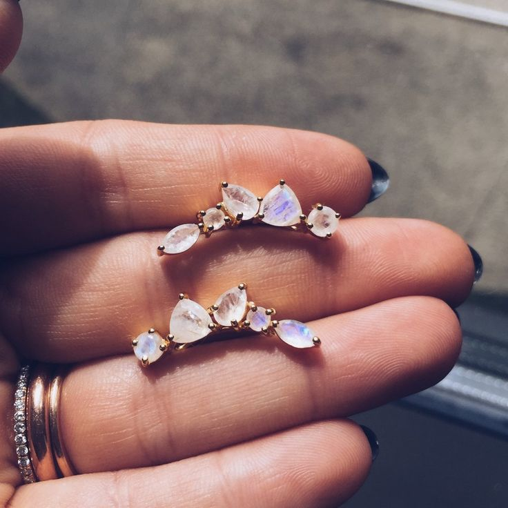 Your ears will grow wings with these moonstone wing ear climbers. Brilliantly faceted moonstones reflect the light changing colors from white to blue to pretty purple hue. Lightweight and easy to wear