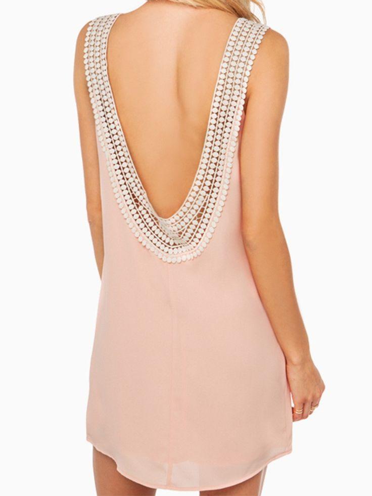 Pink Disc Trim Open Back Vest Dress