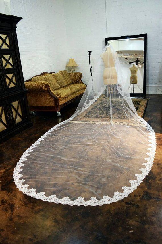 Long Lace Royal Length Bridal Veil Lace Veil by IDoCoutureBridal