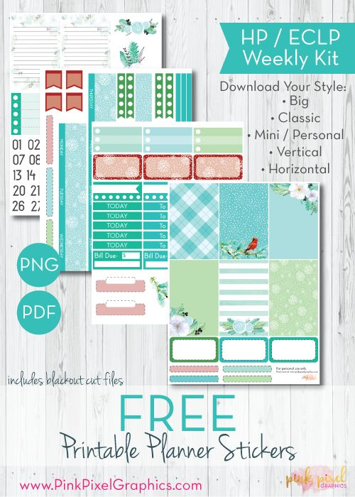 Winter Blooms & Birds Free Planner Stickers - Print and Cut | Pink Pixel Graphics {subscription required}