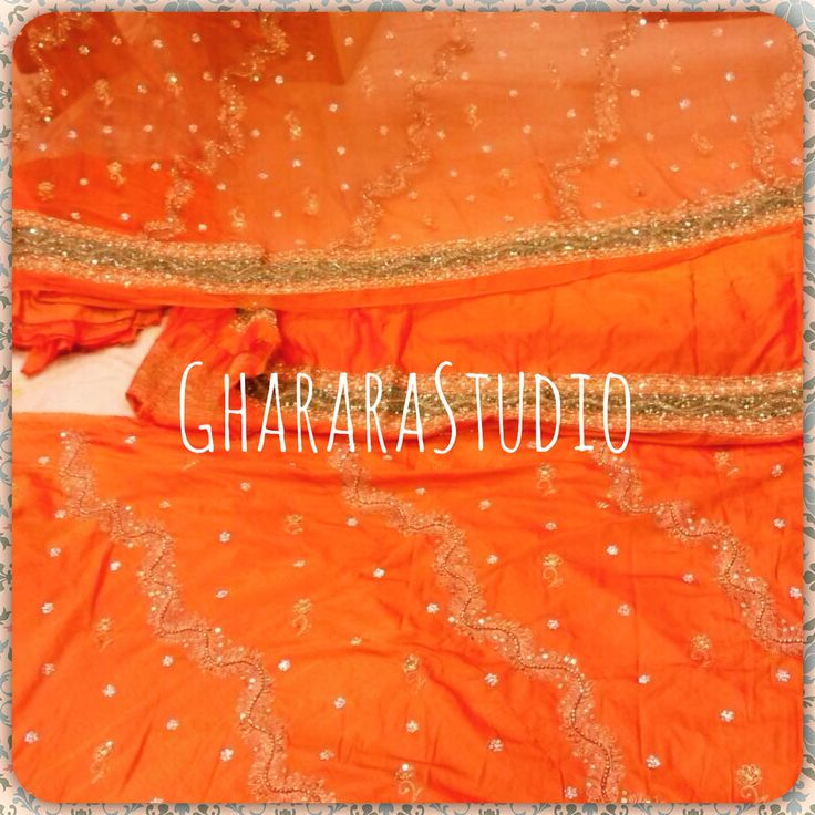 Orange silk Gharara with green border. Complete hand-crafted.  Deliver worldwide  TO ORDER/ENQUIRY: ☎️/Whatsapp 9971865919  ghararastudio@gmail.com  ✉️ Inbox in Facebook  Provide your email id #Gharara #ghararastudio #ghararadesgins #gharara4u #gharara4eid #eid #Ramzan #Ramadan #bride #bridal #bridalgharara #wedding #weddingdress #weddinggharara #nikah #nikahgharara #shaadi #reception #zari #sequence #kundan #handwork #handcrafted #embroidery #orange #green #orderonline #followus #fashion