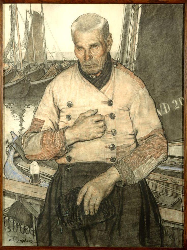 Oude Volendammer visser 1923 maker: Wouters, Wilhelmus Hendrikus Marie (Wilm) (1887-1967) In dit portret is nadruk gelegd op de soberheid van het leven van de visser. Het leed dat het vissersbestaan met zich meebracht is vaak uitgedrukt in voorstellingen met een religieus karakter. Zo ontstaan schilderachtige voorstellingen van begrafenisrituelen en vissers in gebed. #NoordHolland #Volendam