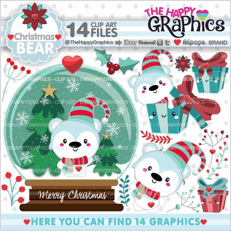 Polar Bear Clipart, Polar Bear Graphic, COMMERCIAL USE, Kawaii Clipart, Christmas Clipart, Christmas Graphic, Planner Accessories, Season