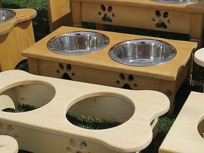 Dog Bowl Handmade Elevated Wood Stand Bone Shaped 2 Qt