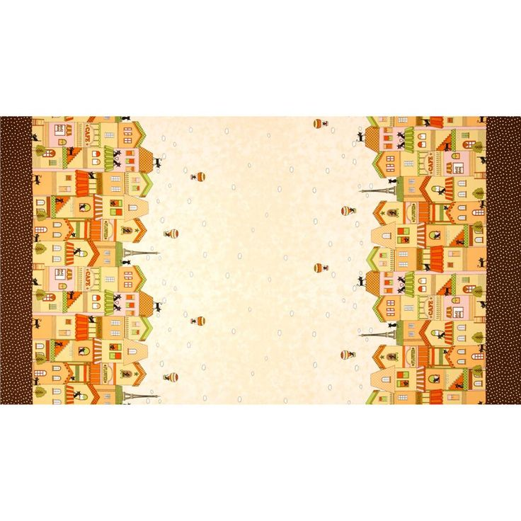 Seven Islands Houses with Cats Border Print Yellow from @fabricdotcom  From Kokka, this cotton print fabric is perfect for quilting, apparel and home decor accents. Colors include black, white, shades of brown, shades of orange, shades of green, and shades of pink.