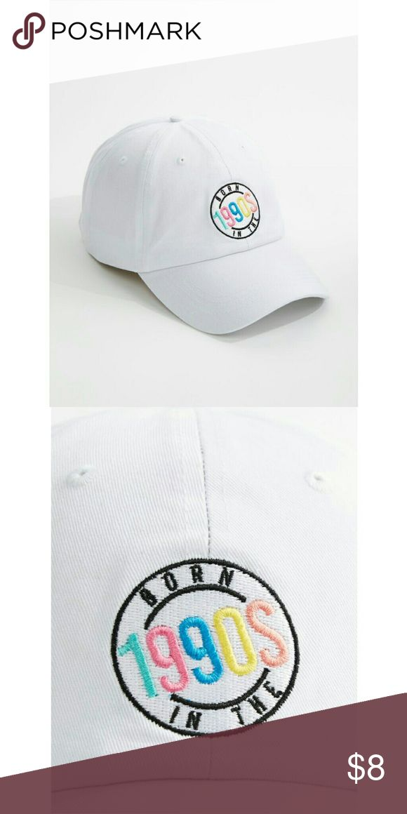 "Rue21 Women's ""Dad Hat"" Born in the 1990's Super Cute, in Trend, the new ""Dad Hat"" colection, in White with Multi Color Print. Says, ""Born in the 1990's"" Rue 21 Accessories Hats"