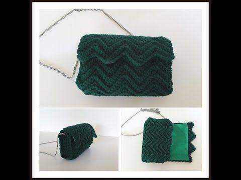 Crochet ripple stitch bag tutorial*Πλεκτή τσάντα με βελονάκι, πλέξη κύμα - YouTube