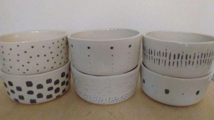 Bowls de cerámica. Pigmento. Esmaltado