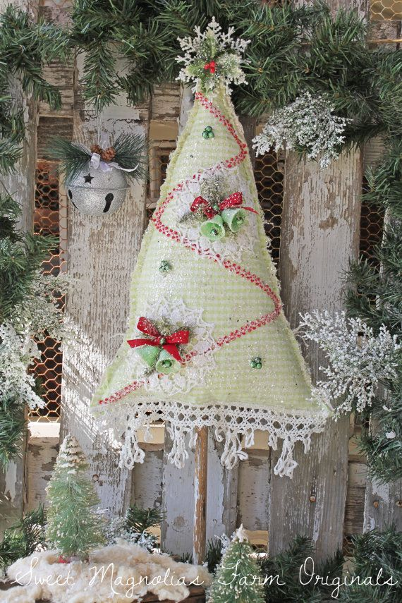 """Farmhouse Christmas Tree ~ Green Gingham ~ Vintage Lace and Vintage Snow Bells by: SweetMagnoliasFarm """"Our last tree available this year"""" Ships Same Day !"""