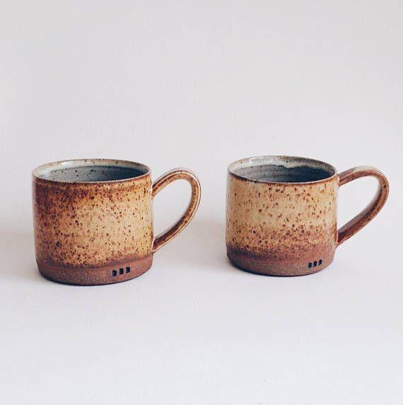 2-piece set of large yellow mugs speckled salt yellow mug