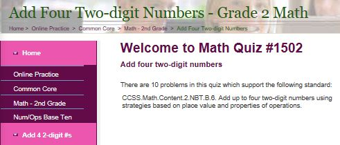 """This is an image from this resource on the Internet4Classrooms' """"Second Grade Math help for standardized tests, adding, addition"""" resource page:    Add four two-digit numbers.    Online quiz that is self checking."""
