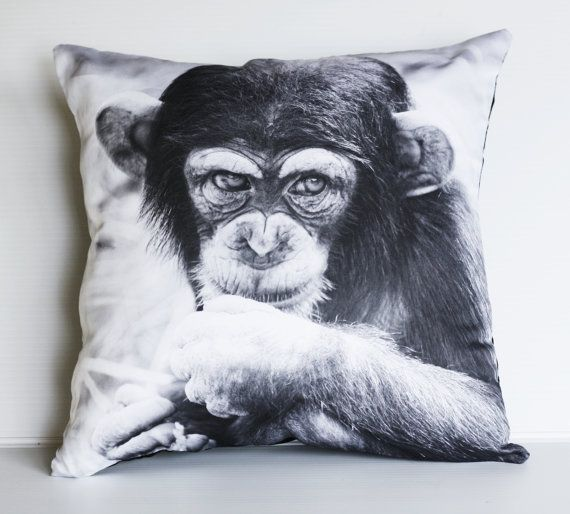 Animal Cushion cover decorative pillow MONKEY CHIMP throw pillow animal cushion,  animal pillow, 16 x16 inch pillow 40cm cushion on Etsy, $46.42