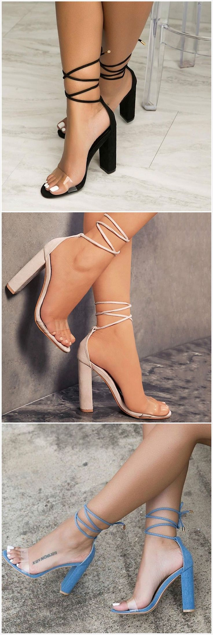 Women's Open Toe Lace up High Heels Sandals