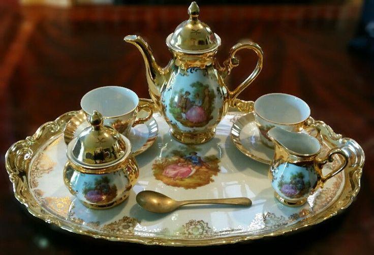 Antique Victorian Porcelain Demitasse Tea Set Bavaria Germany Handarbeit 22k