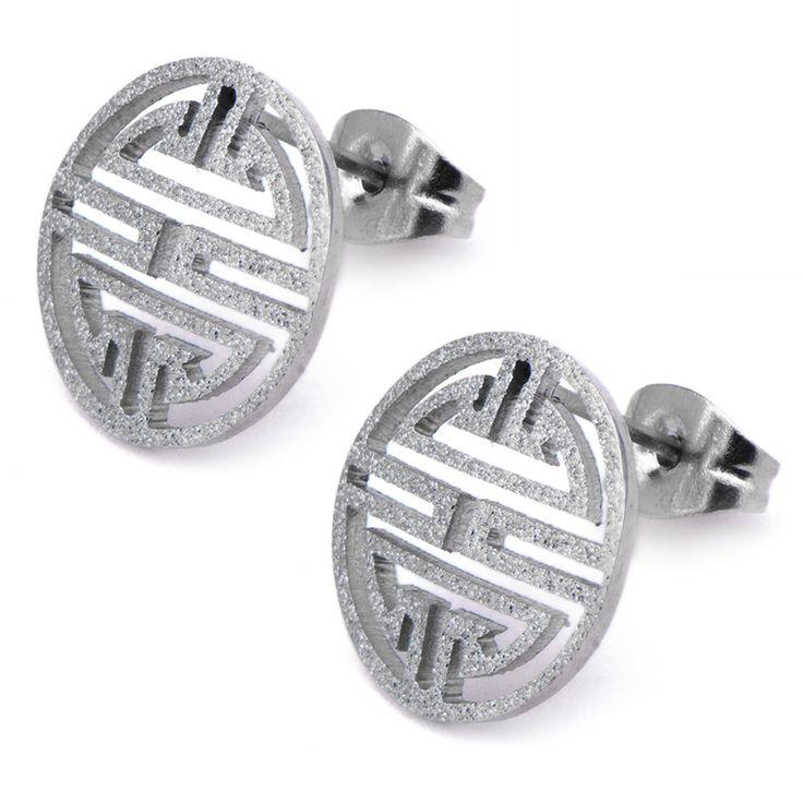 Inox 316L Stainless Steel Grecian Made Medallion Earrings