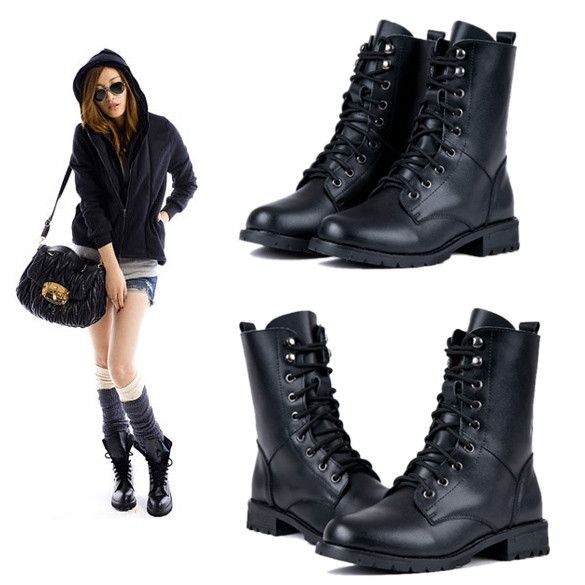 New Fashion Womens Cool Black PUNK Military Army Knight Lace-up Short Boots Shoes