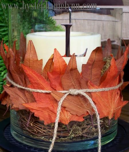 Pottery Barn Inspired Fall Leaf Hurricane Centerpiece - bystephanielynn http://www.bystephanielynn.com/2010/09/pottery-barn-inspired-fall-leaf-hurricane-centerpiece.html