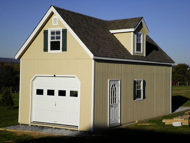 AMISH 14x24 SINGLE CAR 2 STORY WOOD GARAGE SHED NEW!! | Home & Garden, Yard, Garden & Outdoor Living, Garden Structures & Shade | eBay!