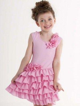 Kate Mack Stufen Kleid 3D Blumen Pink